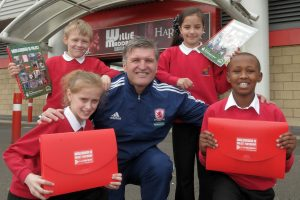 News. Heritage Heroes launch an Education Pack by Middlesbrough 86 Project at Middlesbrough FC's Riverside Stadium. Ex player Gary Gill is pictured with Ayresome primary school pupils (front left)Kaci Hill, Jack Dunmore, Alisha Orer & (front right)Halmsa Adan.Picture by IAN MCINTYRE Story: L Woodcock Date: 16.04.13